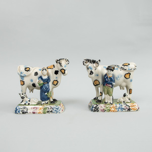 Pair of English Pearlware Pratt Type Milking Groups