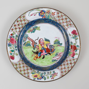 Small Chinese Export Enamel Decorated Dish with a European Scene
