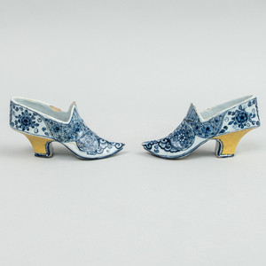 Pair of Dutch Delft Blue and White Models of Lady's Shoes