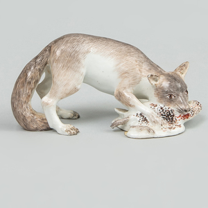 Meissen Model of a Fox Soft Mouthing a Duck