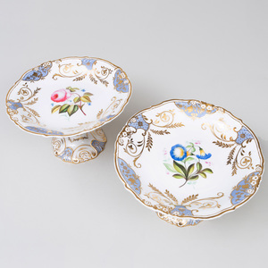 Rockingham Powdered Blue Ground Porcelain Part Dessert Service