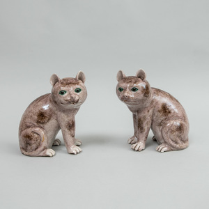 Pair of Chinese Export Porcelain Style Figures of Seated Cats