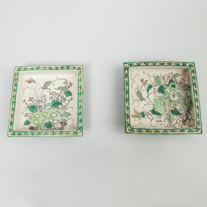 Pair of Small Chinese Famille Verte Porcelain Square Dishes