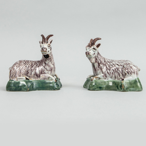 Pair of Dutch Polychrome Delft Models of Recumbent Goats