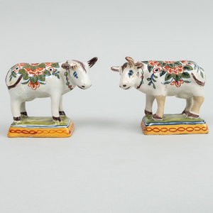 Pair of Small Dutch Delft Models of Cows