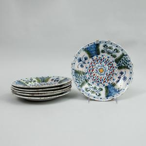 Set of Six Dutch Polychrome Delft Plates
