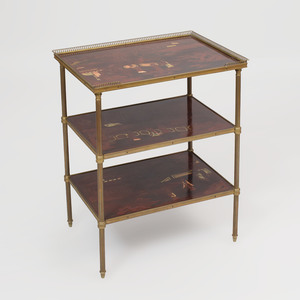 Bronze-Mounted Parcel-Gilt Black Lacquer Three Tier Side Table, of Recent Manufacture