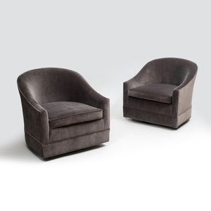 Pair of Harvey Probber Velvet Upholstered Swivel Chairs