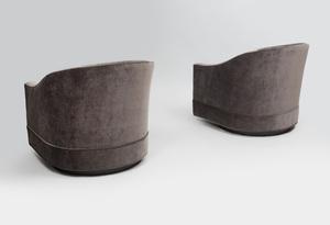 Pair of Harvey Probber Velvet Upholstered Swivel Chairs