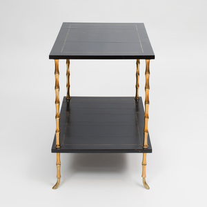 Faux Bamboo Brass-Mounted Lacquer Two-Tier End Table, After a Design by Maison Jansen