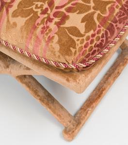 Set of Three X-From Velvet Upholstered Tabourets