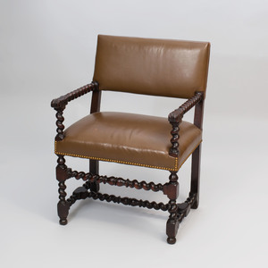 Flemish Baroque Style Turned Walnut Open Armchair