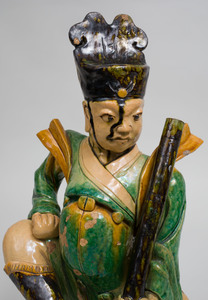 Chinese Ming Style Green and Ocre Glazed Pottery Figural Roof Tile