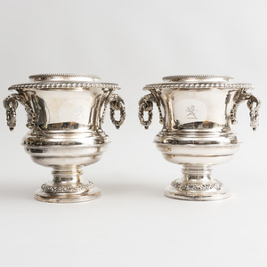 Pair of English Silver Plate Campani Form Wine Coolers, Collars and Liners