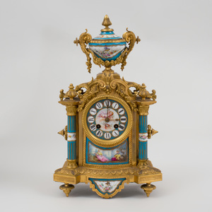 Sèvres Style Gilt-Metal-Mounted Turquoise Glazed Porcelain Mantle Clock