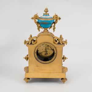 Sèvres Style Gilt-Metal-Mounted Turquoise Glazed Porcelain Mantle Clock