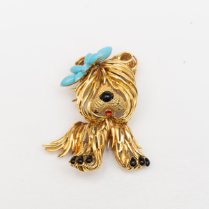 Fred Paris 18k Gold and Enamel Puppy Brooch