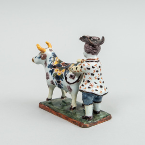 Dutch Polychrome Delft Small Group of a Man and Cow