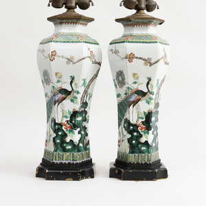 Pair of Chinese Famille Verte Porcelain Hexagonal Vases Mounted as Lamps