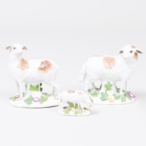 Pair of Meissen Porcelain Models of Sheep and a Continental Porcelain Model of a Lamb