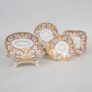 Coalport Iron Red and Gilt-Decorated Porcelain Part Dessert Service
