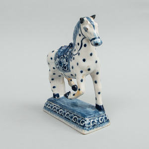 Dutch Blue and White Delft Model of a Prancing Horse