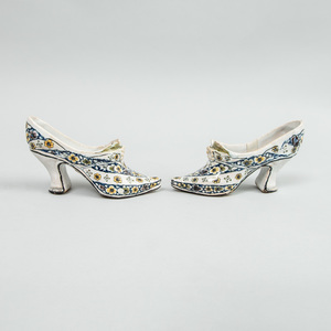 Pair of Lille Faience Lady's Shoes