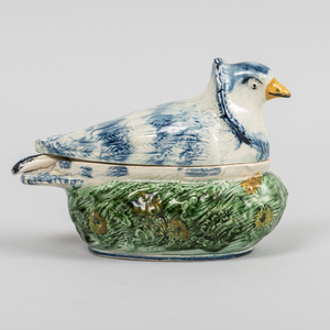 Pearlware Dove Form Sauce Tureen, Cover and Ladle