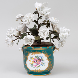Sèvres Style Porcelain Green Ground Glass Cooler, Fitted with White Porcelain Flowers on Painted Metal Stems