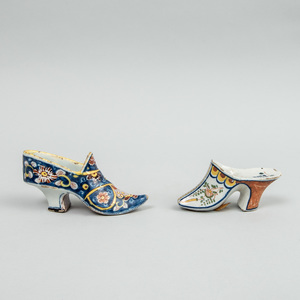 Two Dutch Polychrome Delft Lady's Shoes