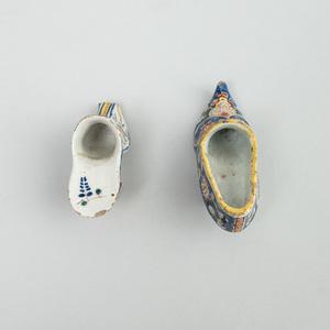 Two Dutch Polychrome Delft Lady's Shoes