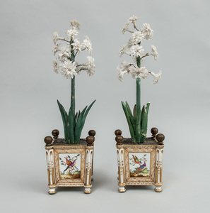 Pair of Paris Porcelain Cachepots, Later Fitted with Floral Plants