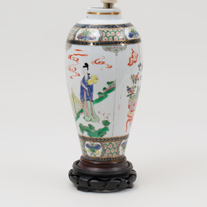 Chinese Famille Verte Porcelain Jar, Mounted as a Lamp
