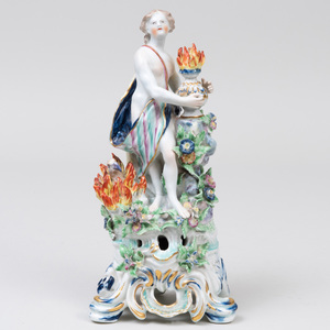 Bow Porcelain Figure Emblematic of Fire