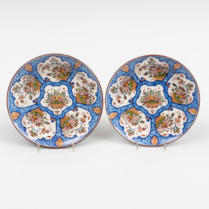 Pair of Dutch Polychrome Delft Soup Plates