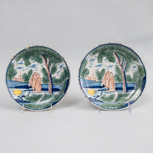 Pair of Dutch Polychrome Delft Pancake Plates