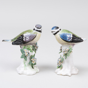 Pair of Derby Porcelain Models of Finches