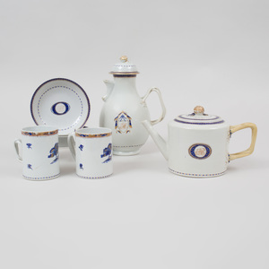 Group of Chinese Export Porcelain Gilt and Cobalt Decorated Monogrammed Tea and Coffee Wares