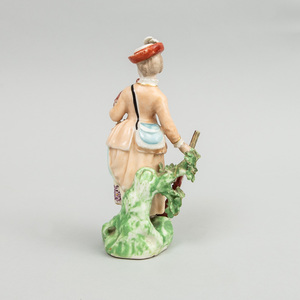 Derby Porcelain Figure of a Lady Hunter with Shot Gun and Holding a Pheasant