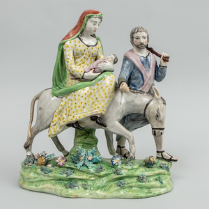 Staffordshire Pearlware Group 'The Flight into Egypt',  After Walton