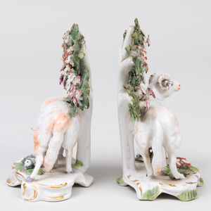 Pair of English Porcelain Ram and Ewe Bocage Groups