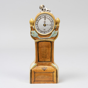 Staffordshire Pearlware Pottery Model of a Long Case Clock