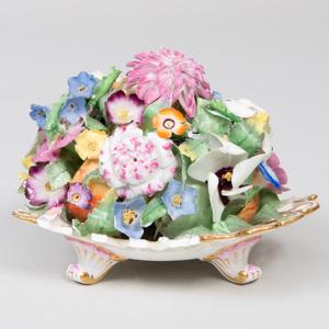 Coalbrookdale Porcelain Flower Encrusted Dish