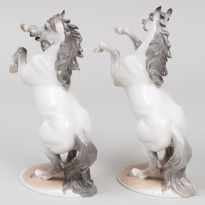 Pair of Nymphenburg Porcelain Models of 'Jumpin' Horses, Designed by August Göhring