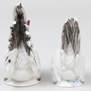 Pair of Nymphenburg Porcelain Models of a Rooster and Hen