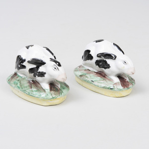 Pair of Staffordshire Pottery Models of Recumbent Hares