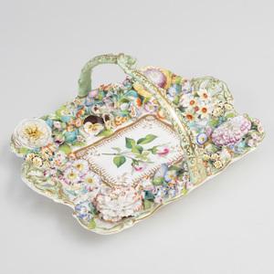 English Porcelain Flower Encrusted Basket