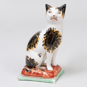 Staffordshire Creamware Model of a Cat