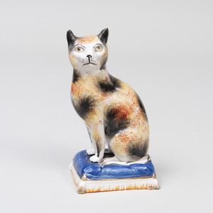 Staffordshire Creamware Model of a Seated Cat
