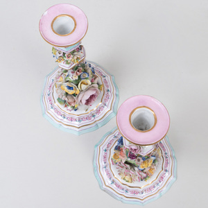 Pair of Continental Porcelain Flower Encrusted Candlesticks